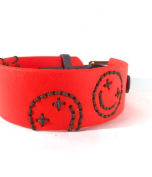 individuelles biothane halsband mit smiley in neon orange
